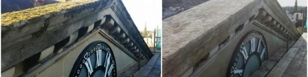 sodowanie   dach przed i po czyszczeniu